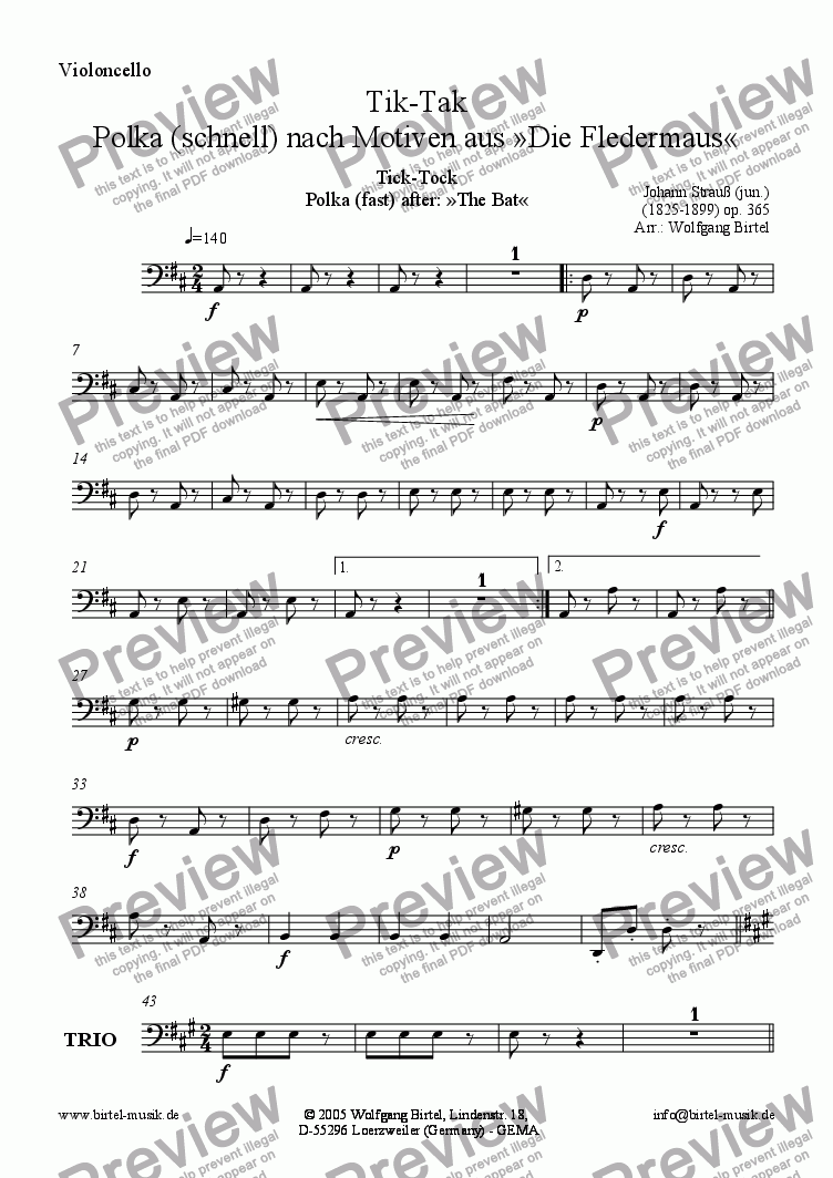 page one of the Violoncello part from Tik-Tak (Ticktack / Tick-Tock) (Fledermaus / The Bat) (For Strings)