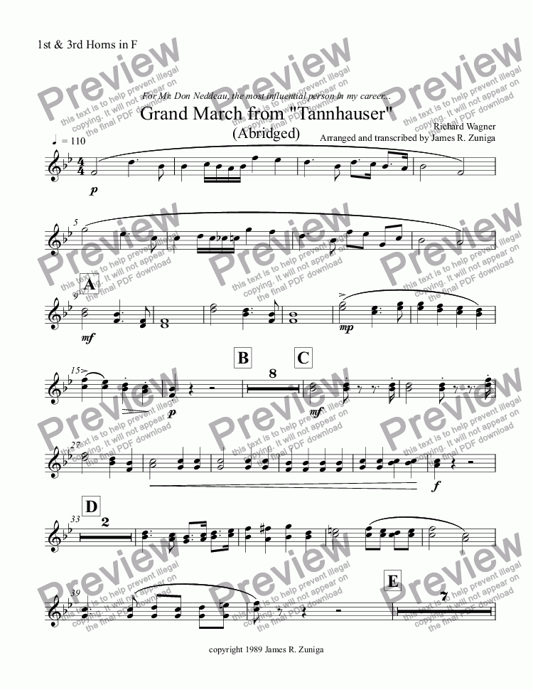 "page one of the 1st & 3rd Horns in F part from Grand March from ""Tannhauser"" (Abridged)"