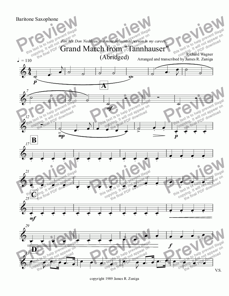 "page one of the Baritone Saxophone part from Grand March from ""Tannhauser"" (Abridged)"