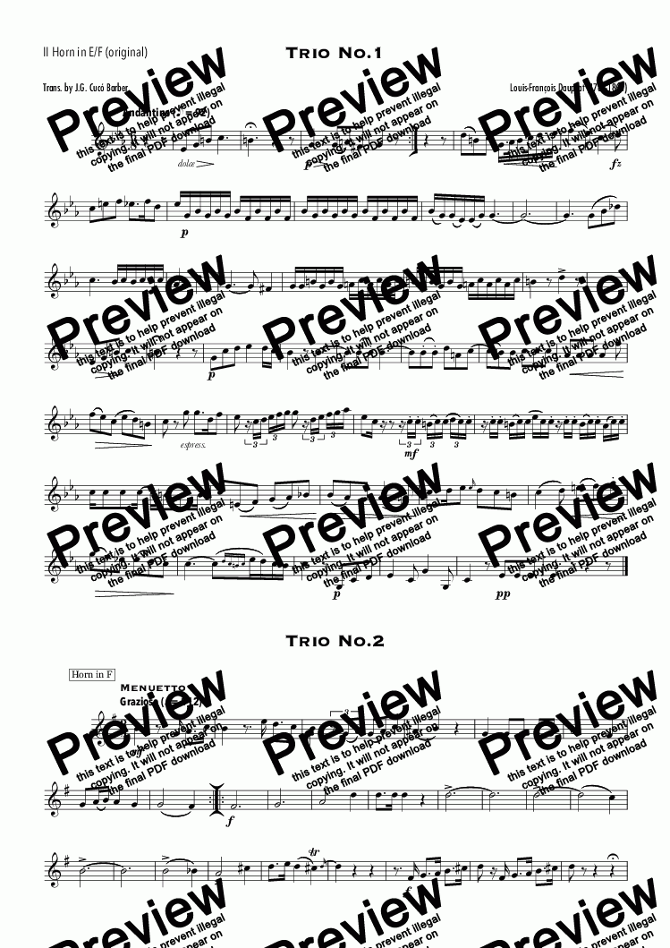 page one of the II Horn in E/F (original) part from Dauprat - 6 Trios for Horn