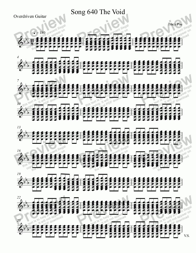 page one of the Overdriven Guitar part from Song 640 The Void