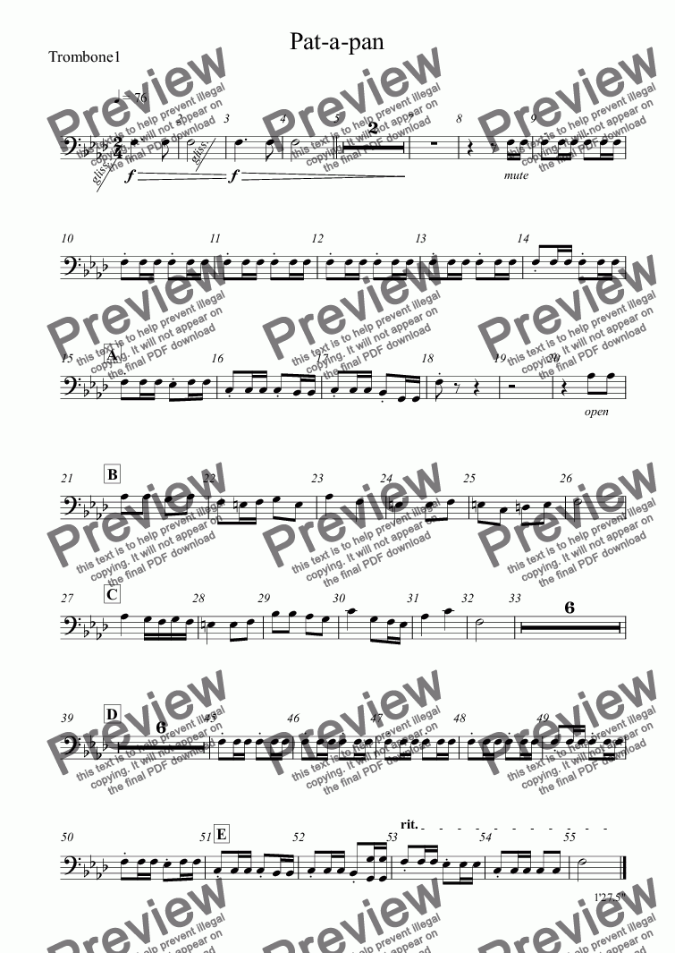page one of the Trombone1 part from Pat-a-pan