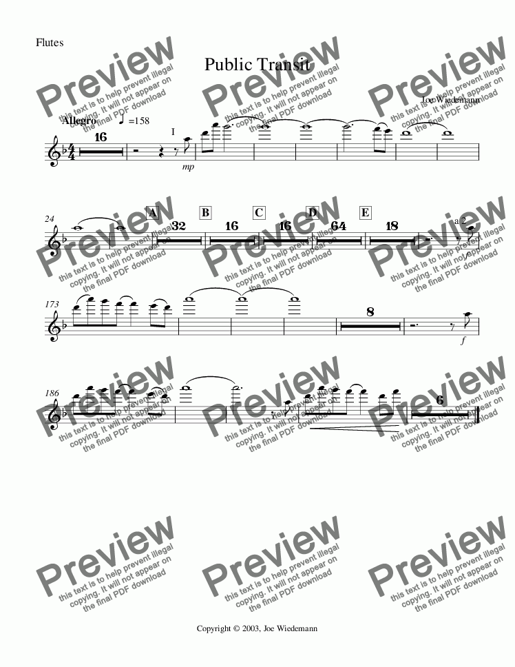 page one of the Public Transit - Flutes part from Public Transit