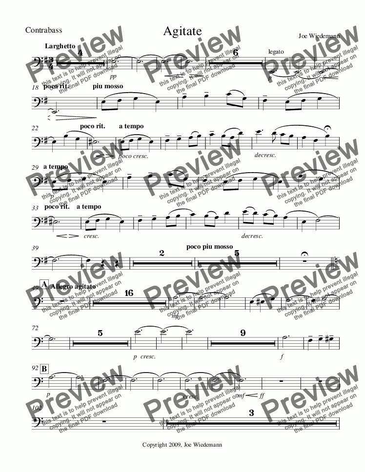 page one of the Agitate Contrabass part from Agitate