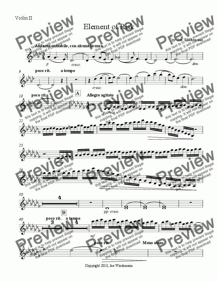 page one of the Element of Risk - Violin II part from Element of Risk