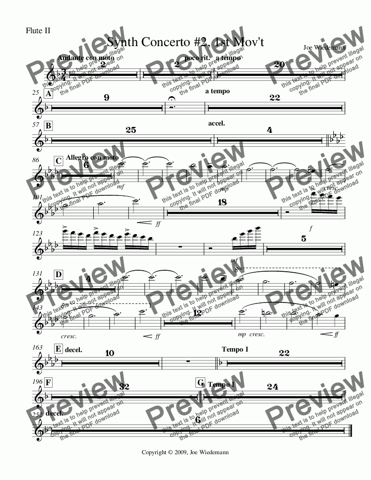 page one of the Synth Concerto #2, Flute II part from Synth Concerto #2, 1st Mov't