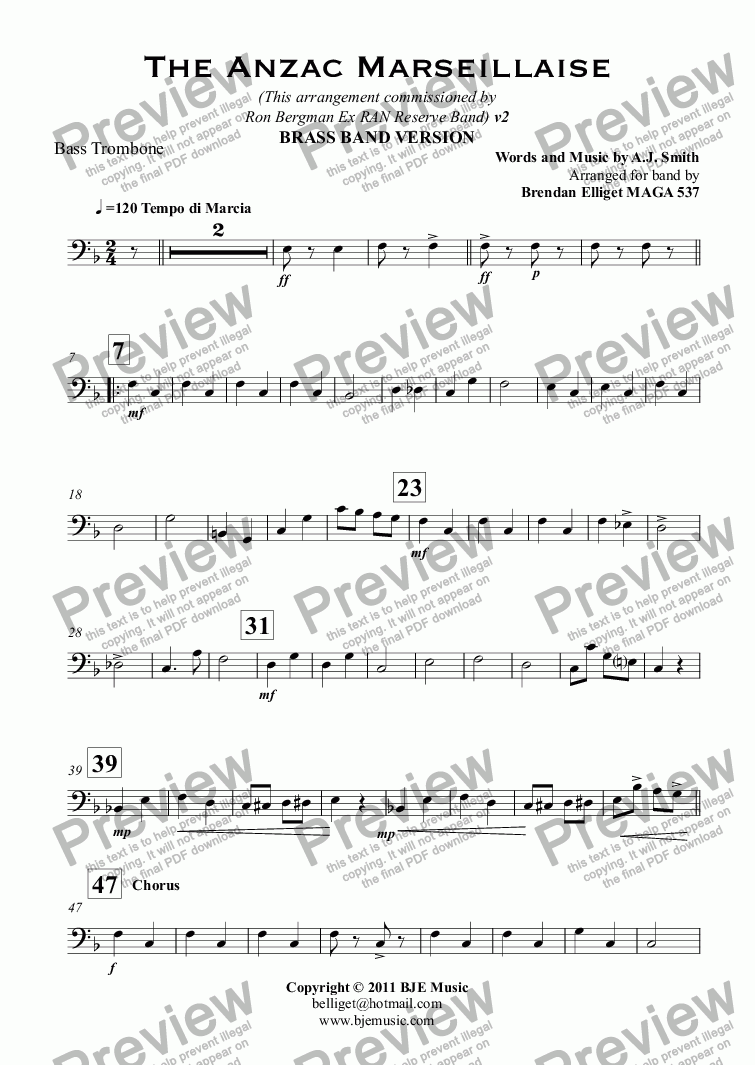 page one of the Bass Trombone part from The Anzac Marseillaise - Brass Band