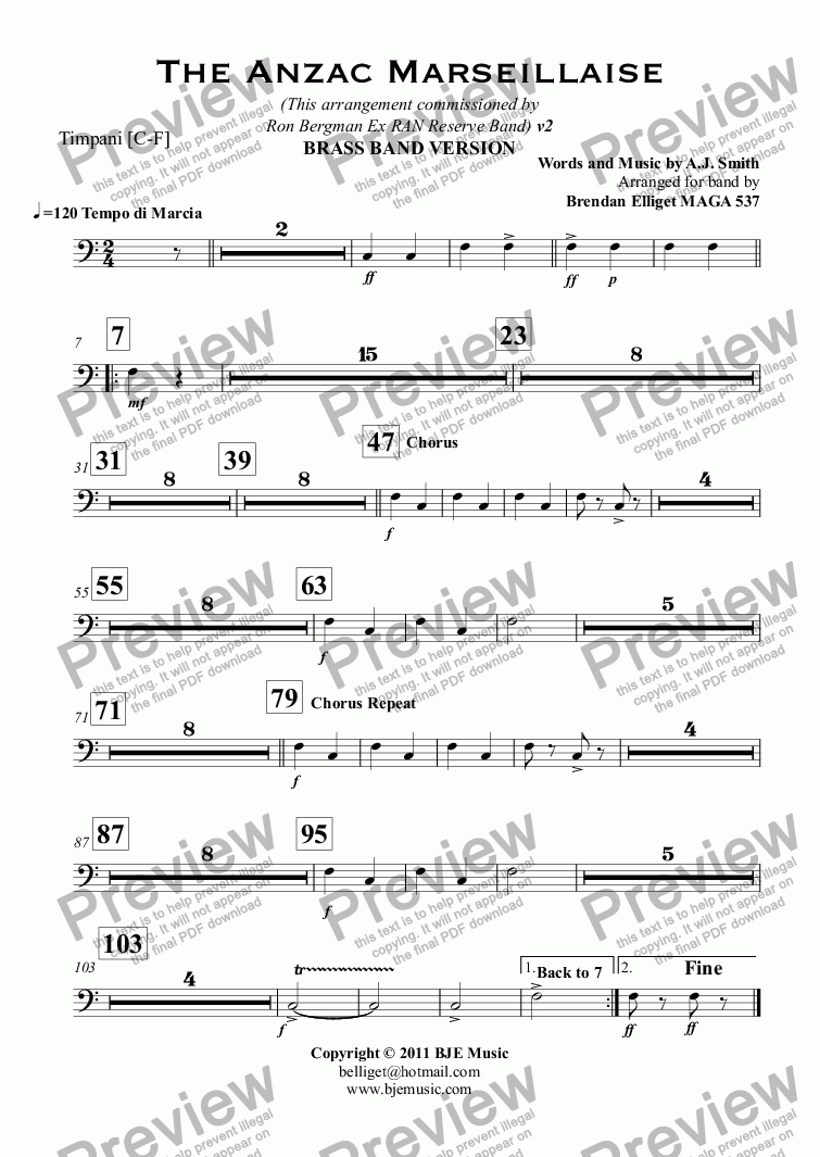 page one of the Timpani [C-F] part from The Anzac Marseillaise - Brass Band