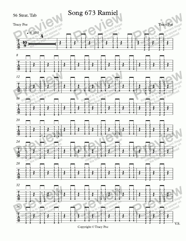 page one of the 56 Strat. Tab part from Song 673 Ramiel