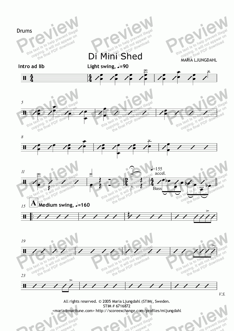 page one of the Drums part from Di Mini Shed