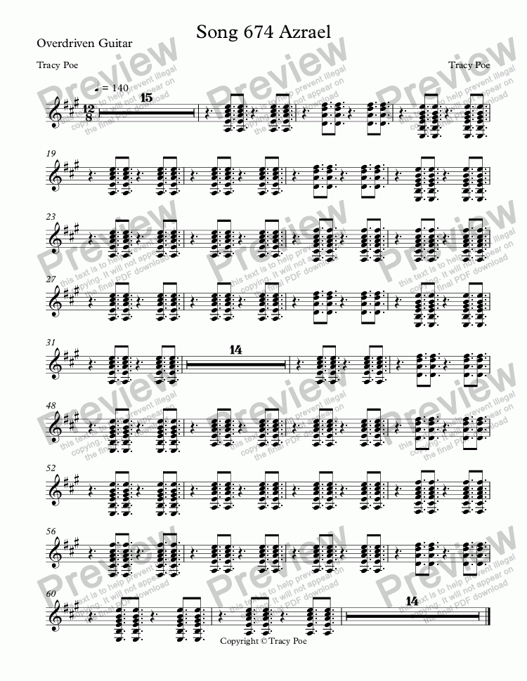 page one of the Overdriven Guitar part from Song 674 Azrael