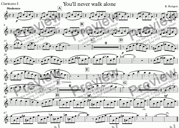 page one of the Clarinetto I part from You'll never walk alone