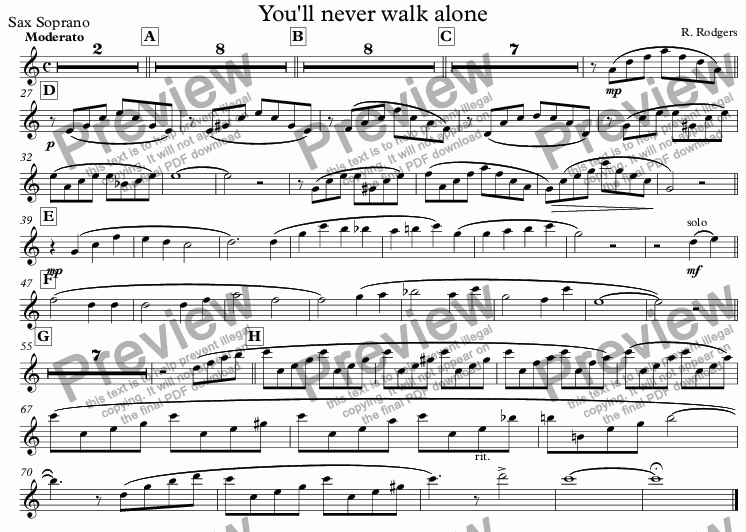 page one of the Sax Soprano part from You'll never walk alone