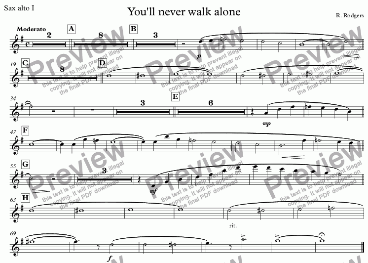 page one of the Sax alto I part from You'll never walk alone