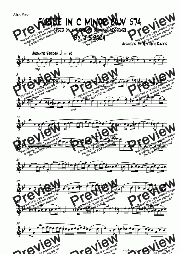 page one of the Alto Sax part from Fugue in C Minor by J.S.Bach bwv574 (Sax Quartet)