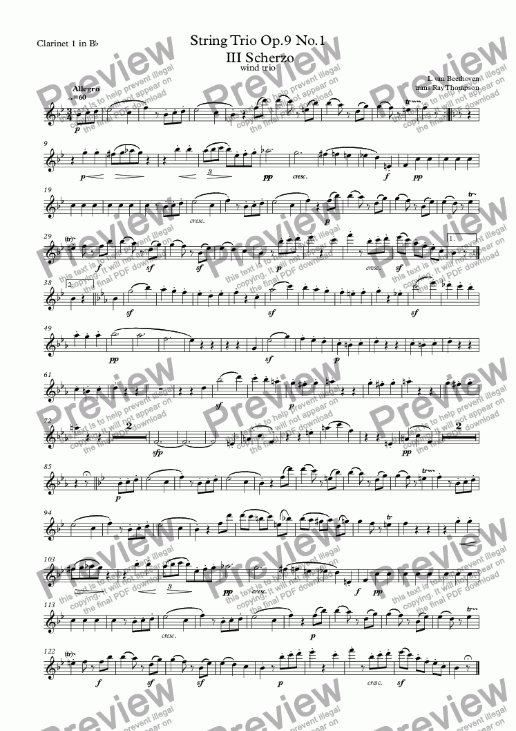 page one of the Clarinet 1 in B^b part from String Trio Op.9 No.1  III Scherzo