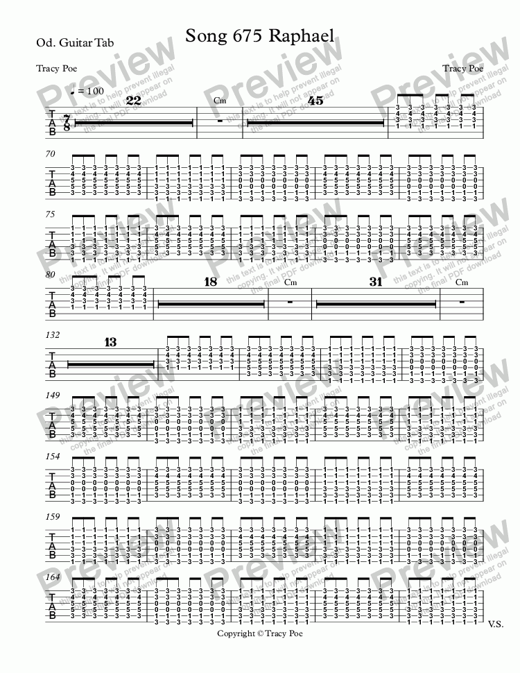 page one of the Od. Guitar Tab part from Song 675 Raphael
