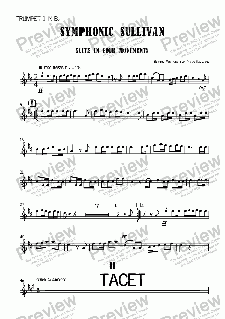 page one of the Trumpet 1 in B^b part from Symphonic Sullivan  (Suite in Four Movements)