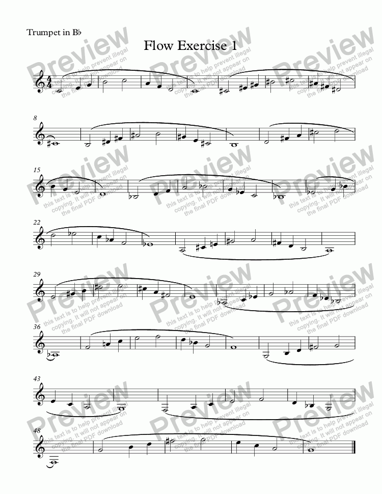 page one of the Trumpet in B^b part from Flow Exercise 1