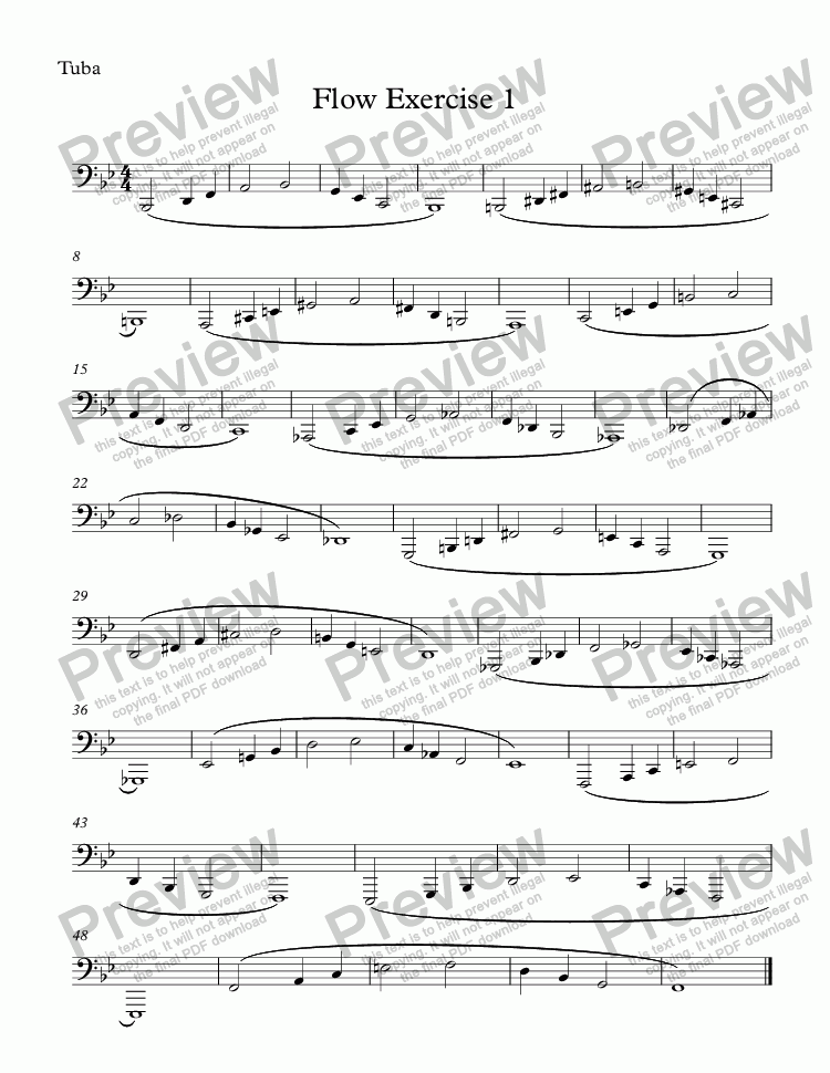 page one of the Tuba part from Flow Exercise 1