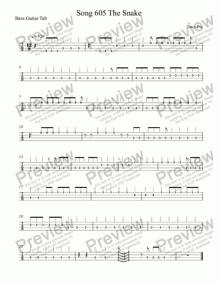 page one of the Bass Guitar Tab part from Song 605 The Snake