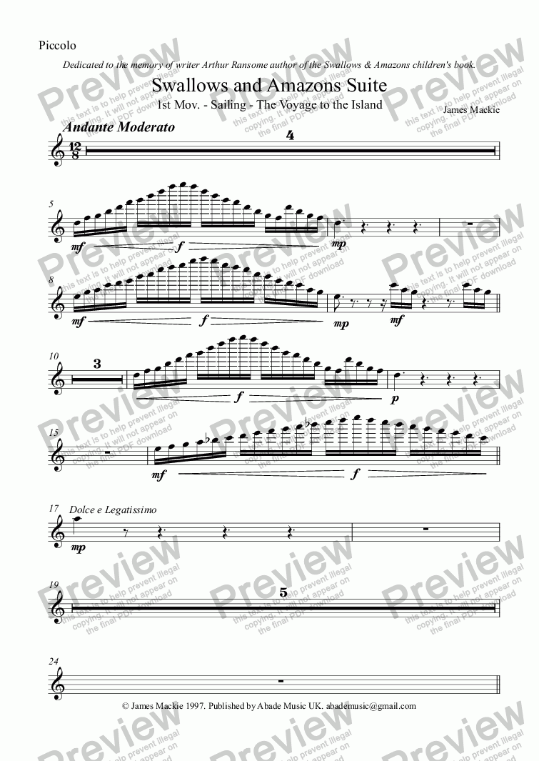 page one of the Piccolo part from Sailing (1st Mov. Swallows and Amazons Suite)