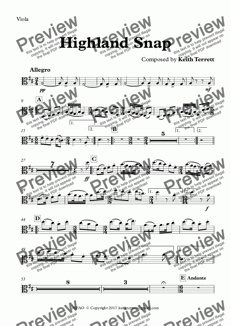 page one of the Viola part from Highland Snap for Symphony Orchestra