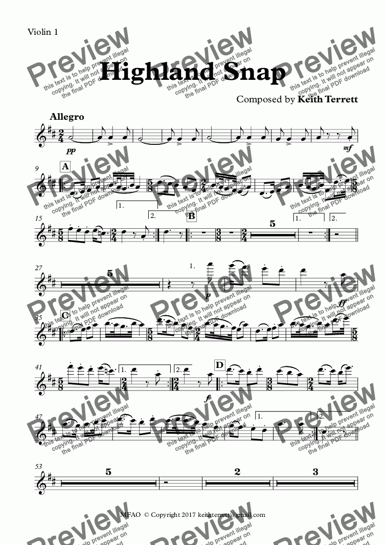 page one of the Violin 1 part from Highland Snap for Symphony Orchestra