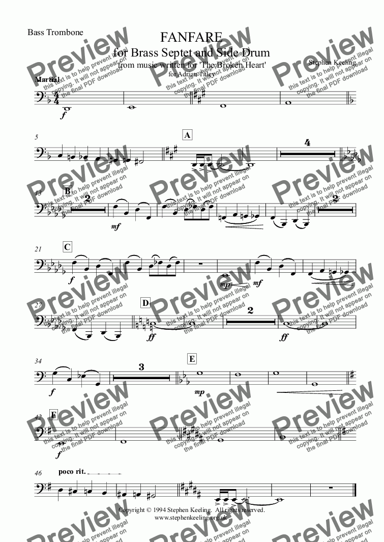 page one of the Bass Trombone part from FANFARE for Brass Septet and Side Drum