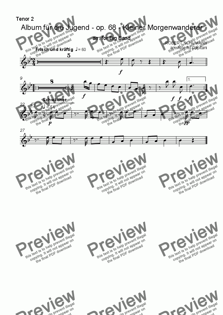 page one of the Tenor Saxophone 2 part from Album für die Jugend - op. 68 - Kleiner Morgenwanderer - arr. for Big band