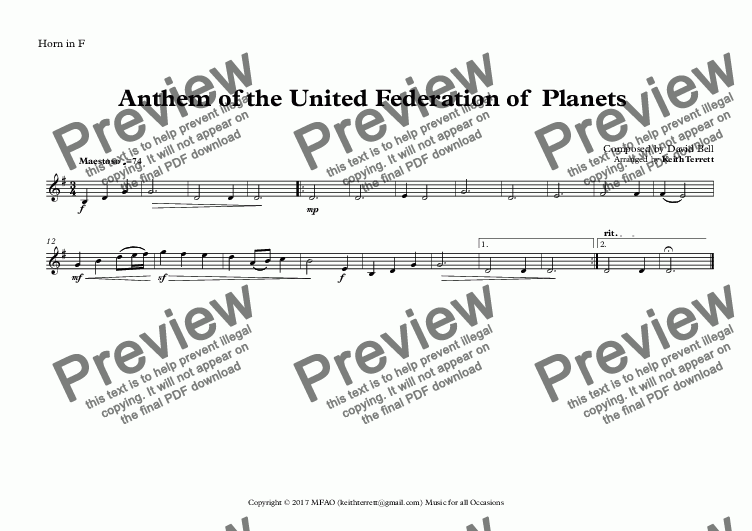 page one of the Horn in F part from Anthem of the United Federation of  Planets