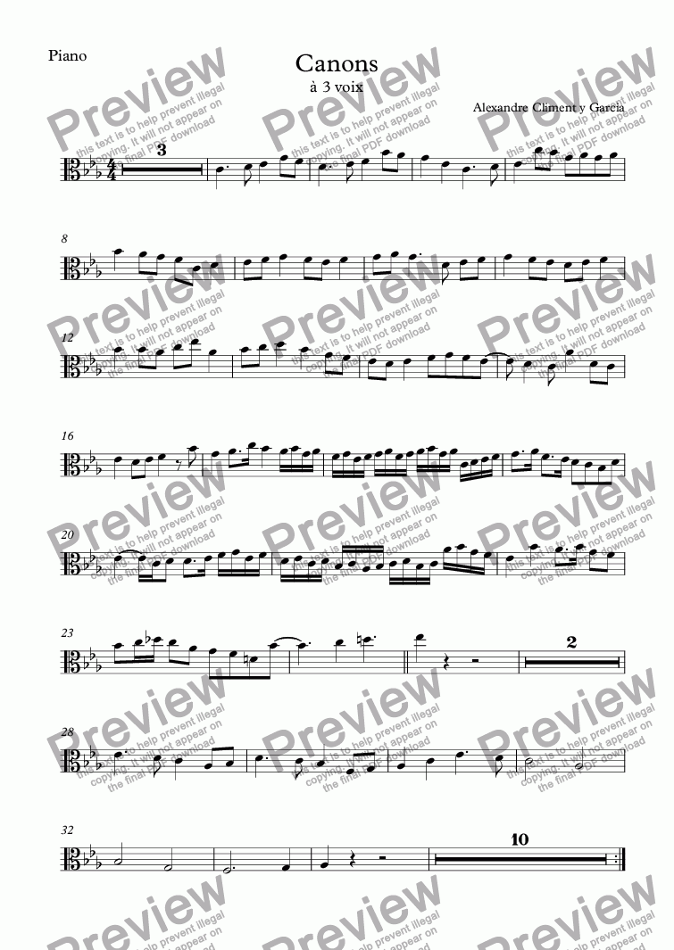 page one of the Piano part from Canons