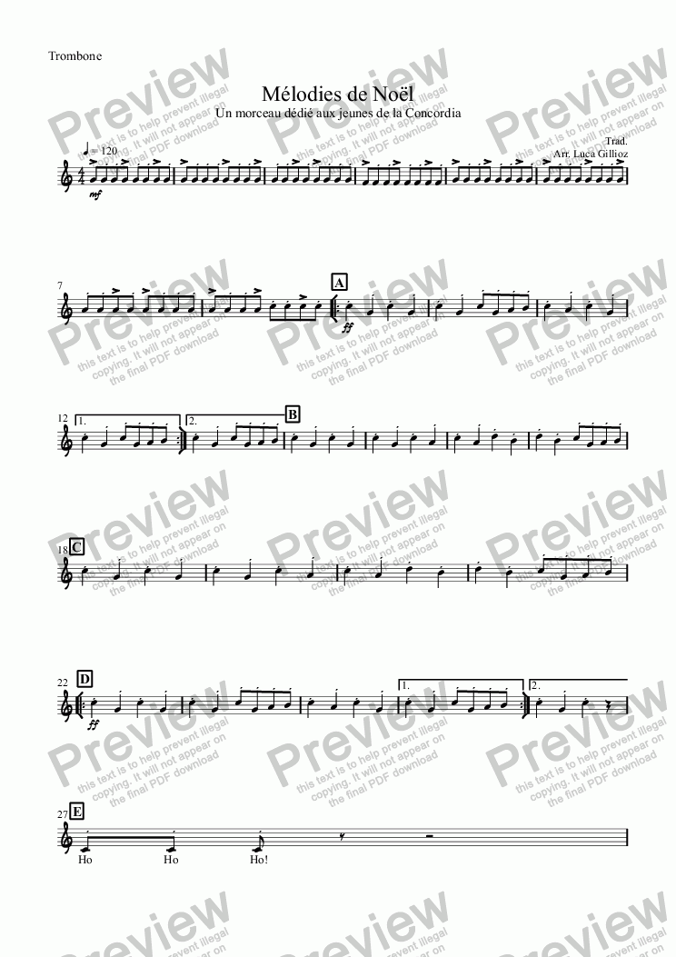 page one of the Trombone part from Mélodies de Noël