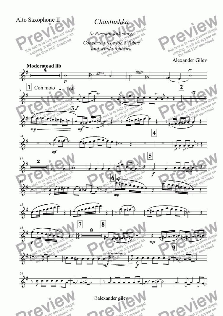 page one of the Alto Saxophone II part from Chastushka  (a Russian folk song) for 2 Tubas