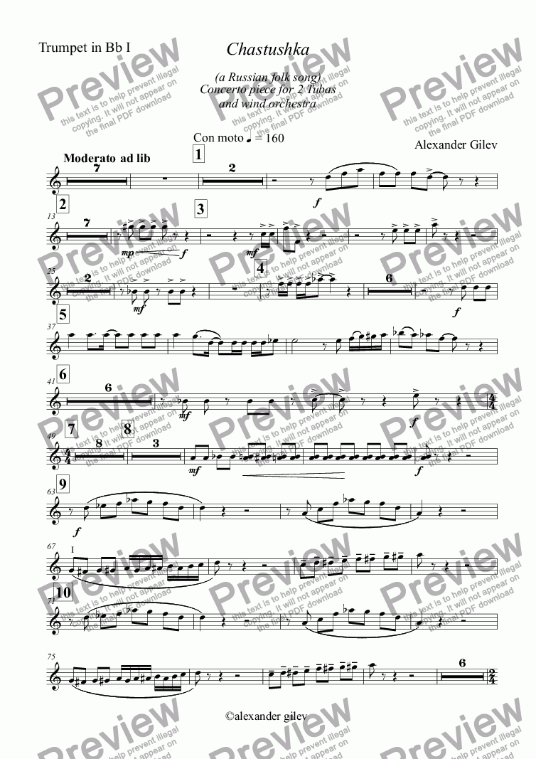 page one of the Trumpet in Bb I part from Chastushka  (a Russian folk song) for 2 Tubas