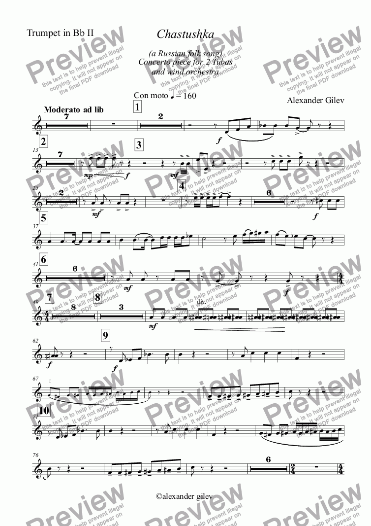 page one of the Trumpet in Bb II part from Chastushka  (a Russian folk song) for 2 Tubas