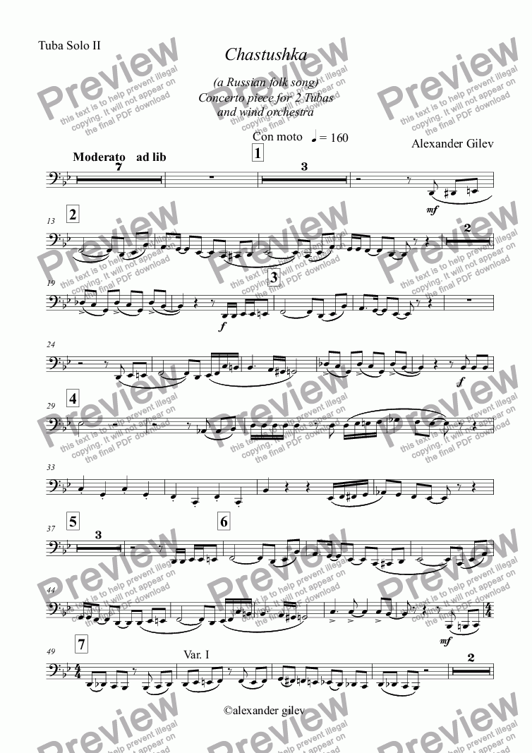 page one of the Tuba Solo II part from Chastushka  (a Russian folk song) for 2 Tubas