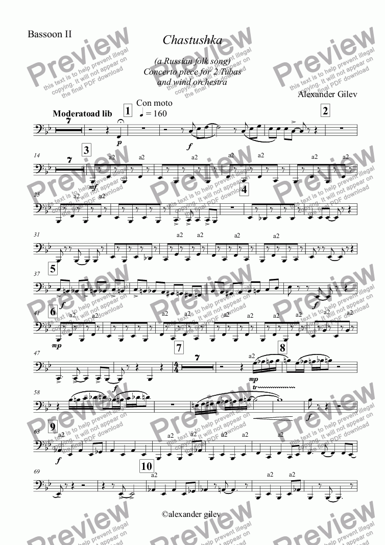 page one of the Bassoon II part from Chastushka  (a Russian folk song) for 2 Tubas