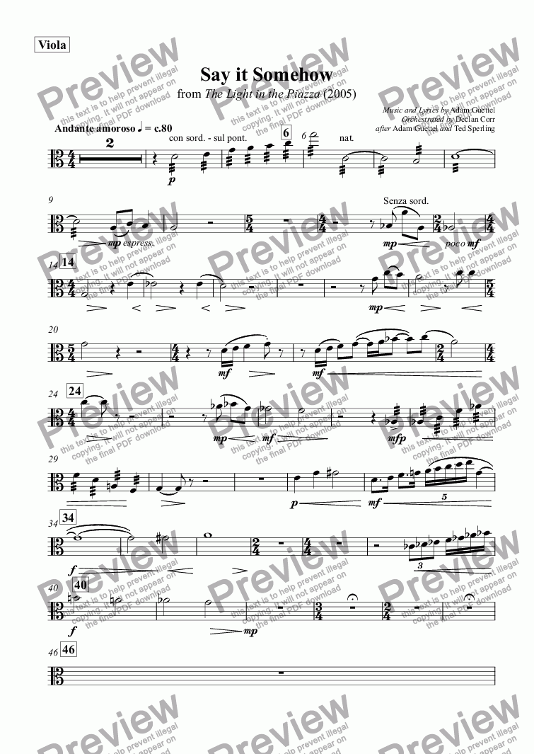 page one of the Viola part from Say it Somehow