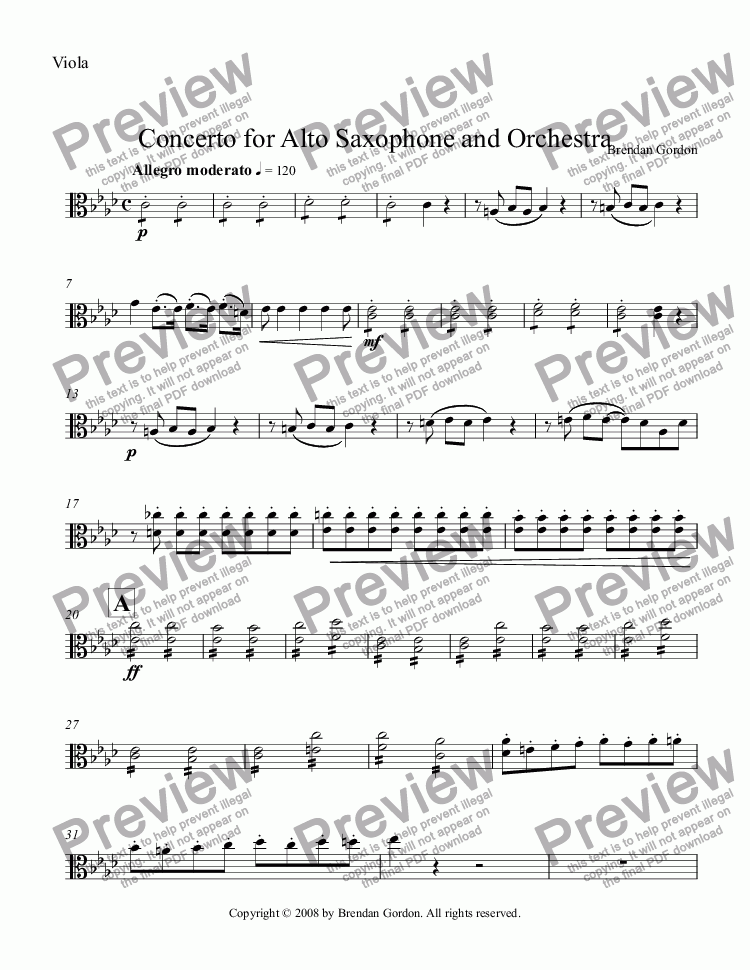 page one of the Viola part from Concerto for Alto Saxophone in A-flat Major (1st mvt)