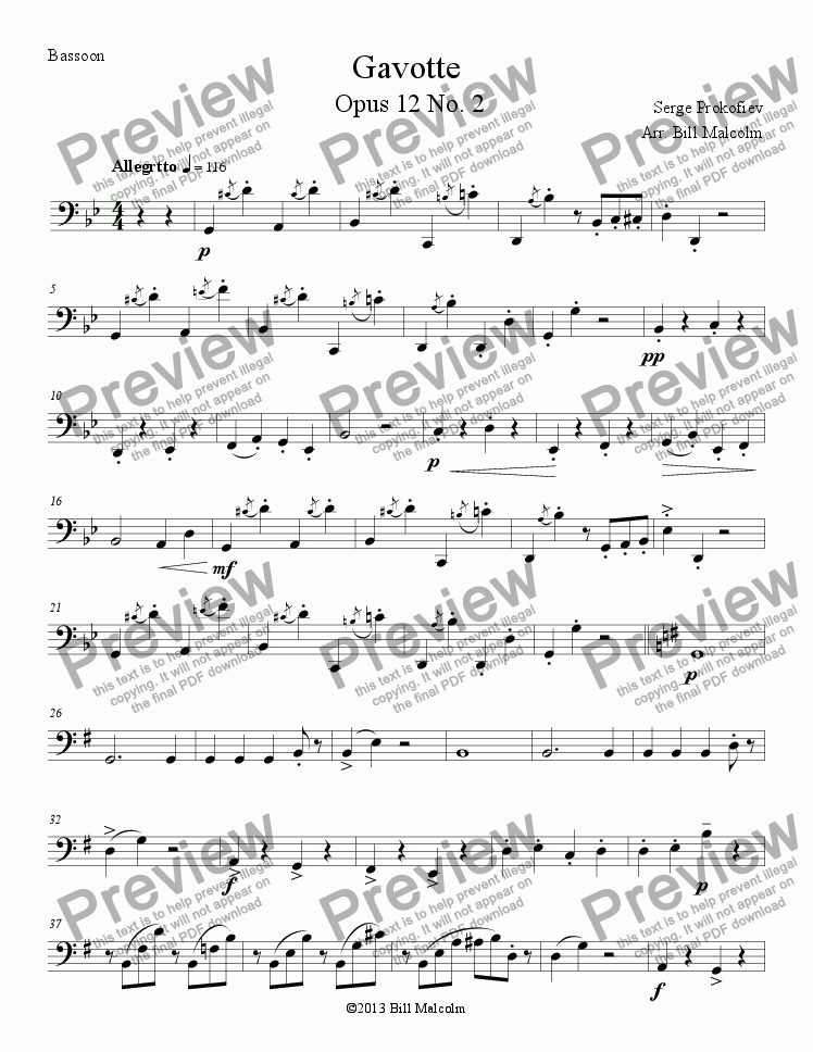 page one of the Gavotte Bn part from Gavotte Op 12