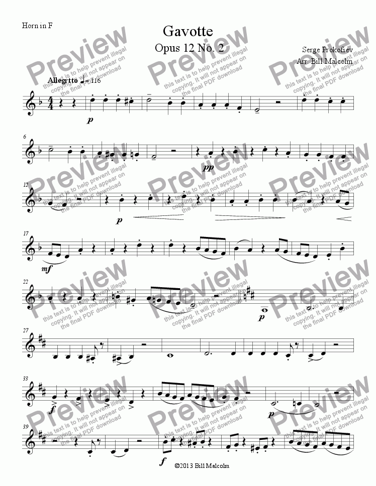 page one of the Gavotte Horn part from Gavotte Op 12
