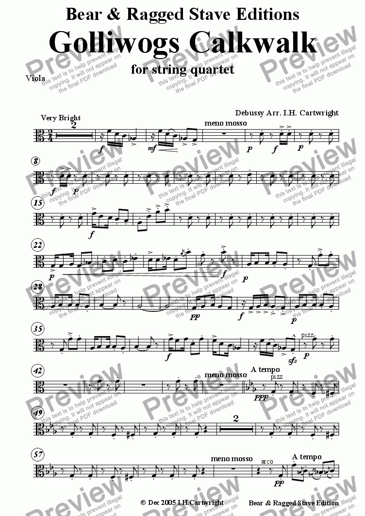 page one of the Viola part from Golliwogs calkwalk for string quartet