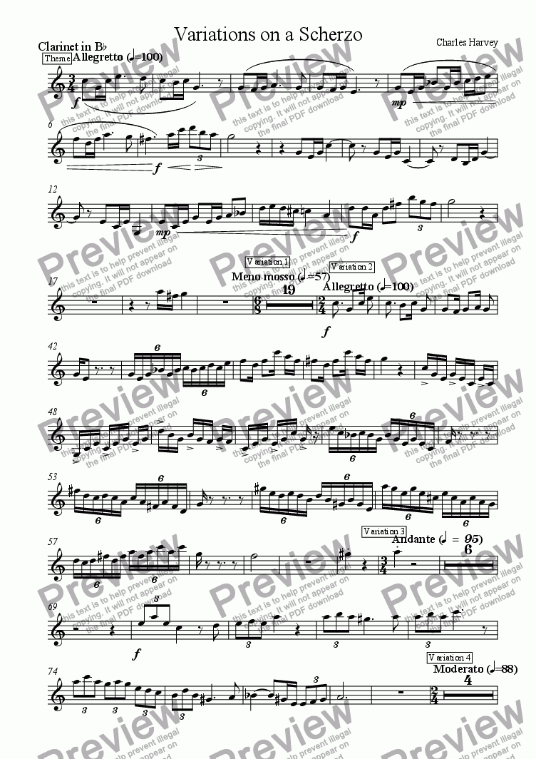 page one of the Clarinet part from Variations on a Scherzo