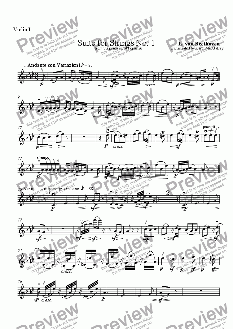 page one of the Violin I part from Beethoven: String Quintet No. 1  I Andante and Variations