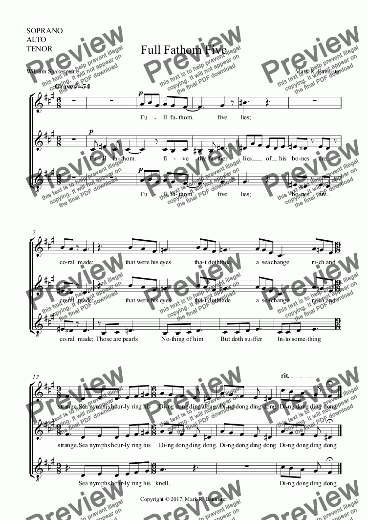 page one of the SOPRANO, ALTO, TENOR part from Full Fathom Five