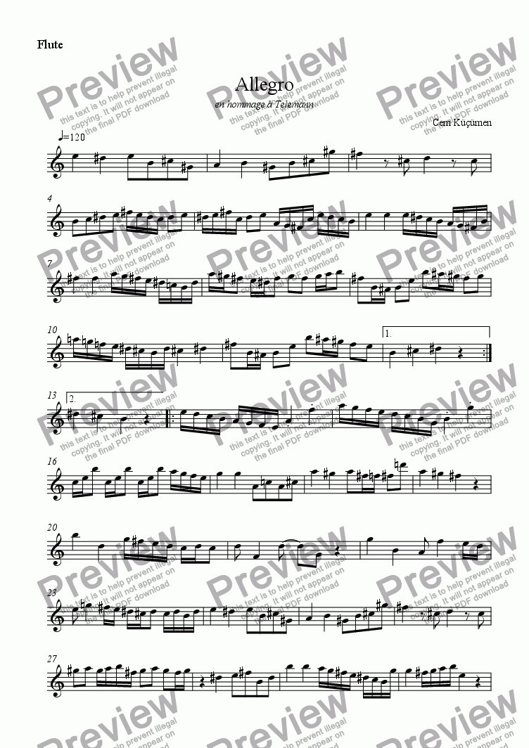 page one of the flute part from Prelude,Fugue And Allegro. Part 3- Allegro