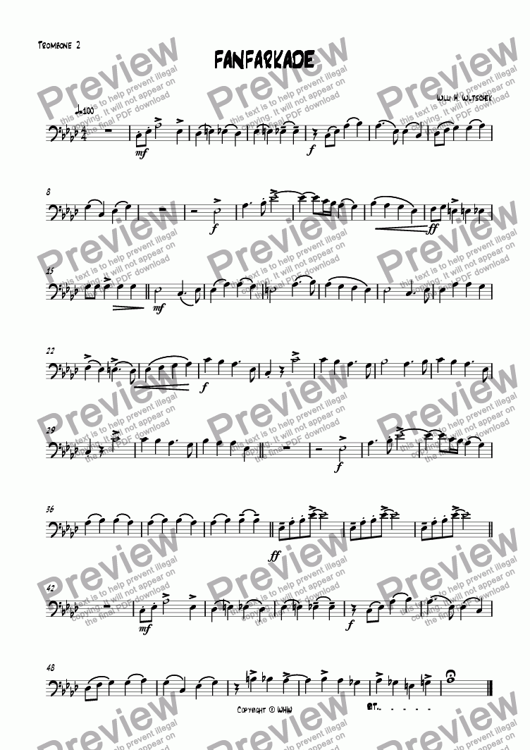 page one of the Trombone 2 part from FANFARKADE