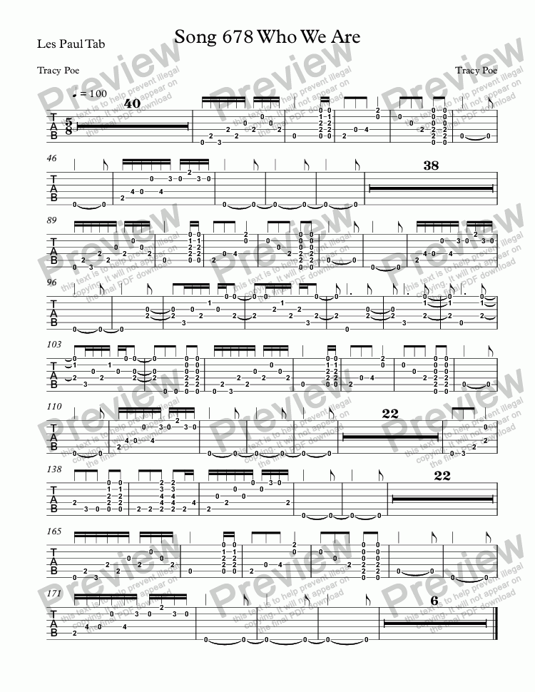 page one of the Les Paul Tab part from Song 678 Who We Are