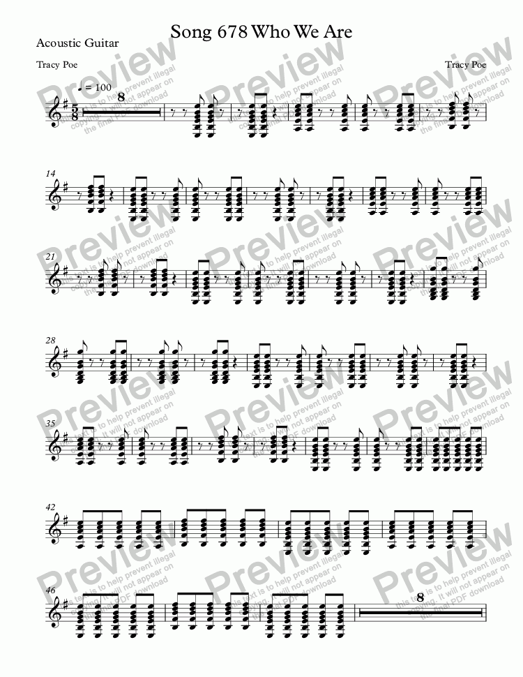 page one of the Acoustic Guitar part from Song 678 Who We Are